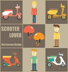 Scooter lover people flat cartoon vector