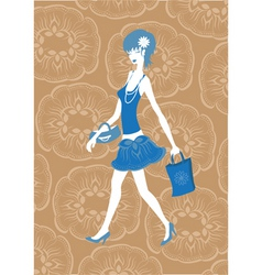 walking woman vector image