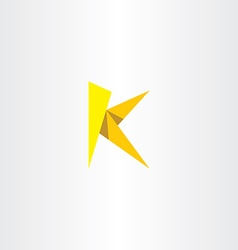 Yellow paper letter k triangle logo vector