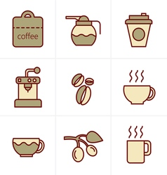 Icons style coffee icons with white background vector