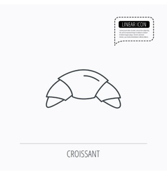 Croissant icon bread bun sign vector