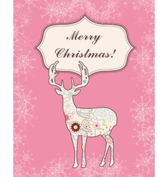 Background with deer and snowflakes vintage vector