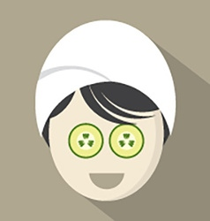 Woman with cucumber pieces on face vector