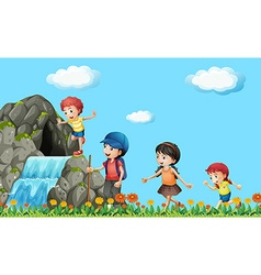 Kids hiking on the waterfall vector