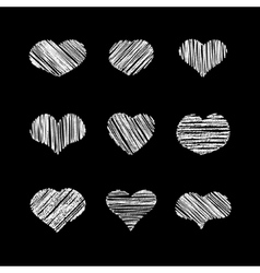 Abstract white heart shapes set vector