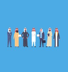 Arabic business men group full length arab vector