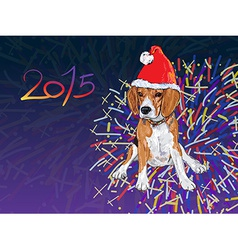 Beagle wear christmas hat with fireworks vector image vector image
