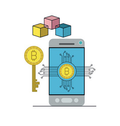 Bitcoin digital currency key network in smartphone vector