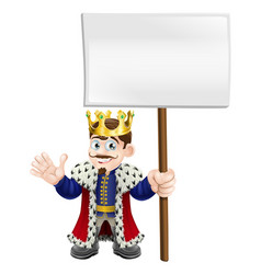 Cartoon king holding a sign vector