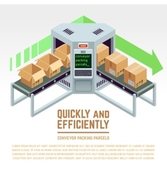 Conveyor packing parcels 3d isometric vector