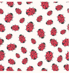 Cute ladybirds seamless pattern print for kids vector