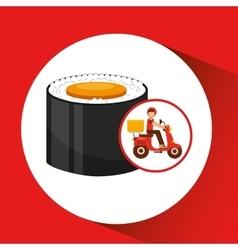 Delivery boy ride motorcycle maki sushi vector