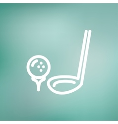 Golf Ball And Putter thin line icon vector image vector image