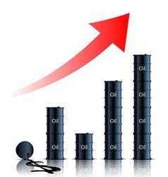 Graph consisting of barrels of oil vector
