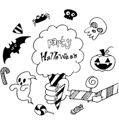 Halloween holiday background in doodle vector