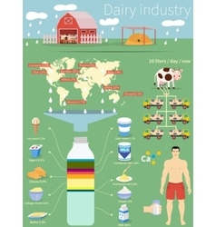 Infographics dairy industry vector