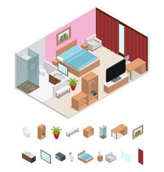Interior hotel room isometric view vector