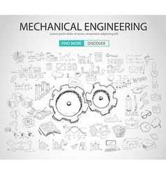 Mechanical Engineering concept with Doodle design vector image vector image