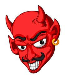 red devil head cartoon vector image