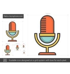 Retro microphone line icon vector
