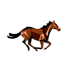 running brown horse vector image