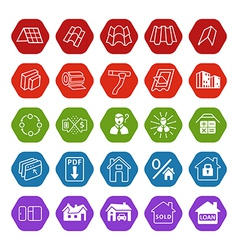 Sale buildings materials roof facade site icons vector image vector image