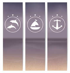 Set labels with beach retro style vector image vector image