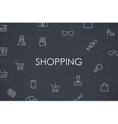 Shopping Thin Line Icons vector image