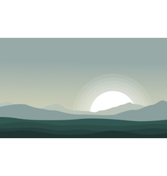 Silhouette of mountain at the morning scenery vector image vector image