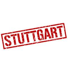 Stuttgart red square stamp vector