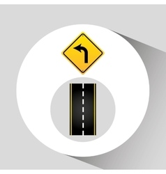 Turn left road sign concept graphic vector