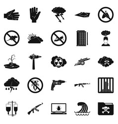World tension icons set simple style vector