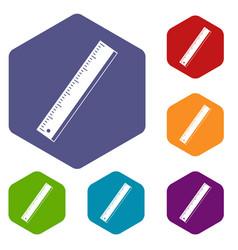 Yardstick icons set hexagon vector