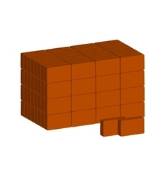 Stack of ordinary red bricks on white background vector