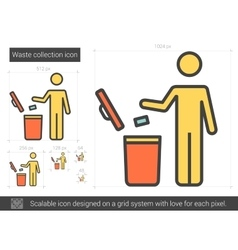 Waste collection line icon vector
