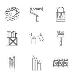 Creativity art icons set outline style vector