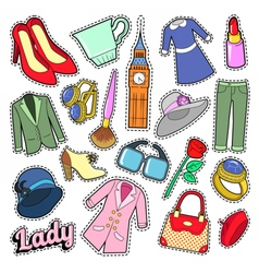 English lady woman fashion badges patches vector