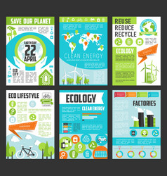 ecology earth day poster template set vector image