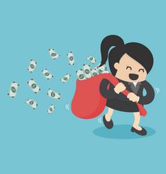 business woman run hold money sack vector image