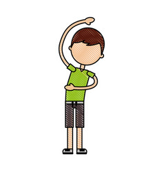 Cartoon boy stretching up vector