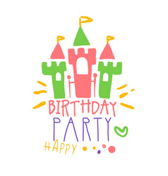 Birthday happy party promo sign childrens party vector