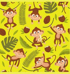 seamless pattern with monkey on yellow background vector image