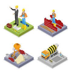 Isometric construction industry workers mixer vector