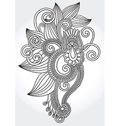 Hand draw line art ornate flower vector