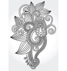 Hand draw line art ornate flower vector