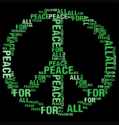 Peace for all black bg vector