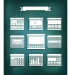 Transparent web site page templates collection vector