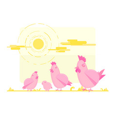 Pink cute chicken family vector