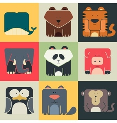 Set flat square icons of a cute animals vector