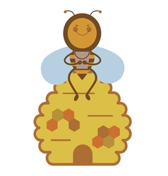 Bee and beehive vector